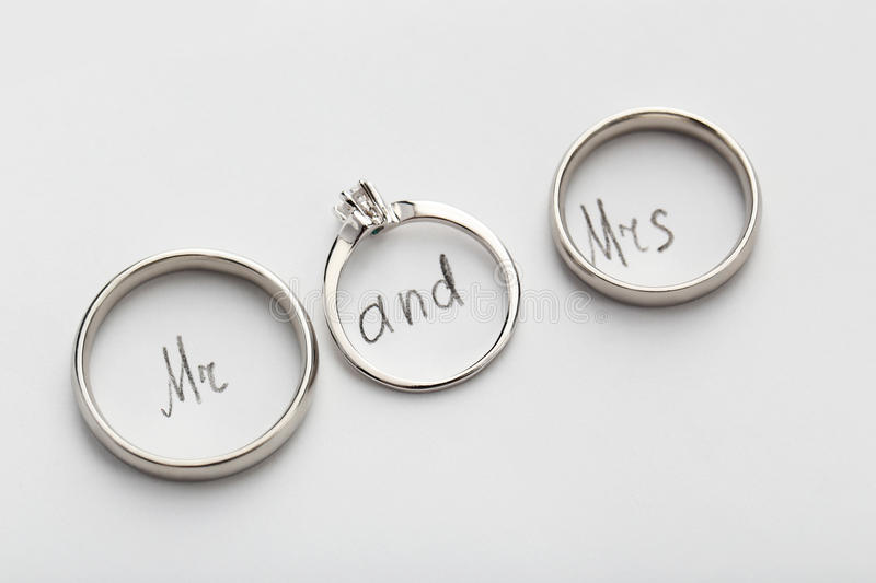 Silver wedding rings. On white paper, close up stock photo