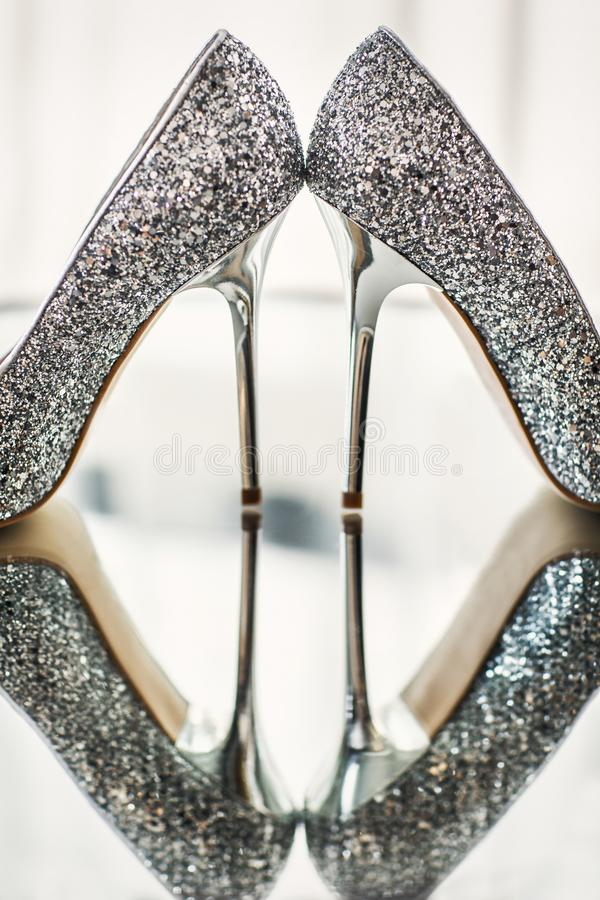 Wedding shoes on a mirror royalty free stock photos