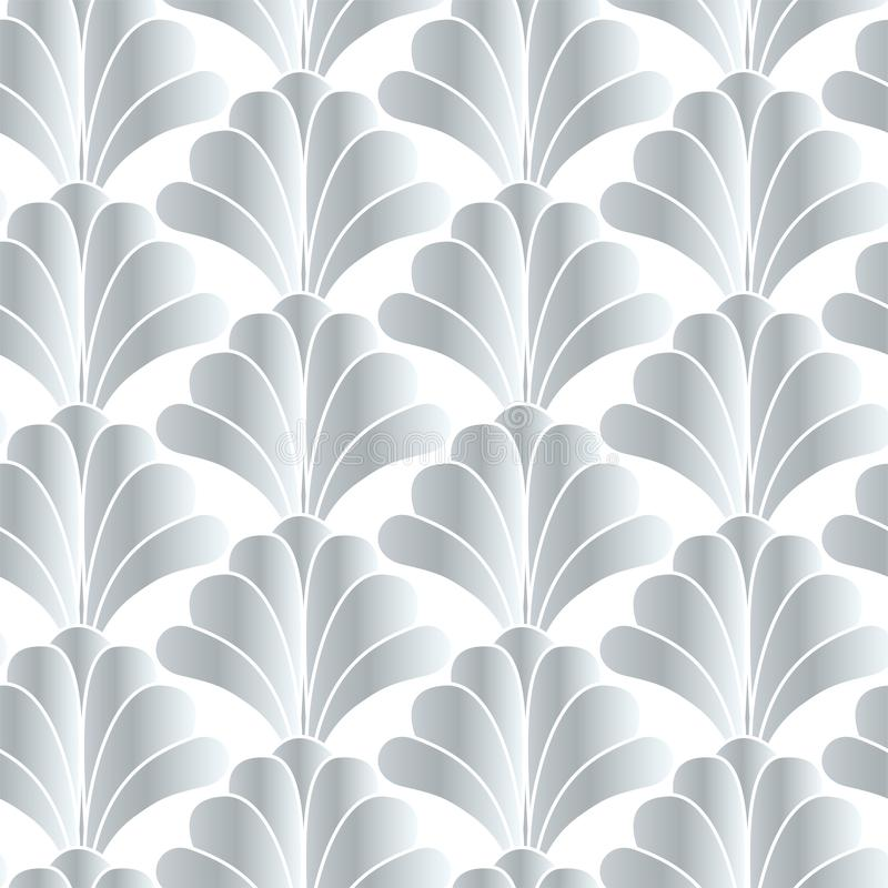 Silver White Art Deco Gatsby Style Floral Geometric Seamless Pattern Background Design royalty free illustration