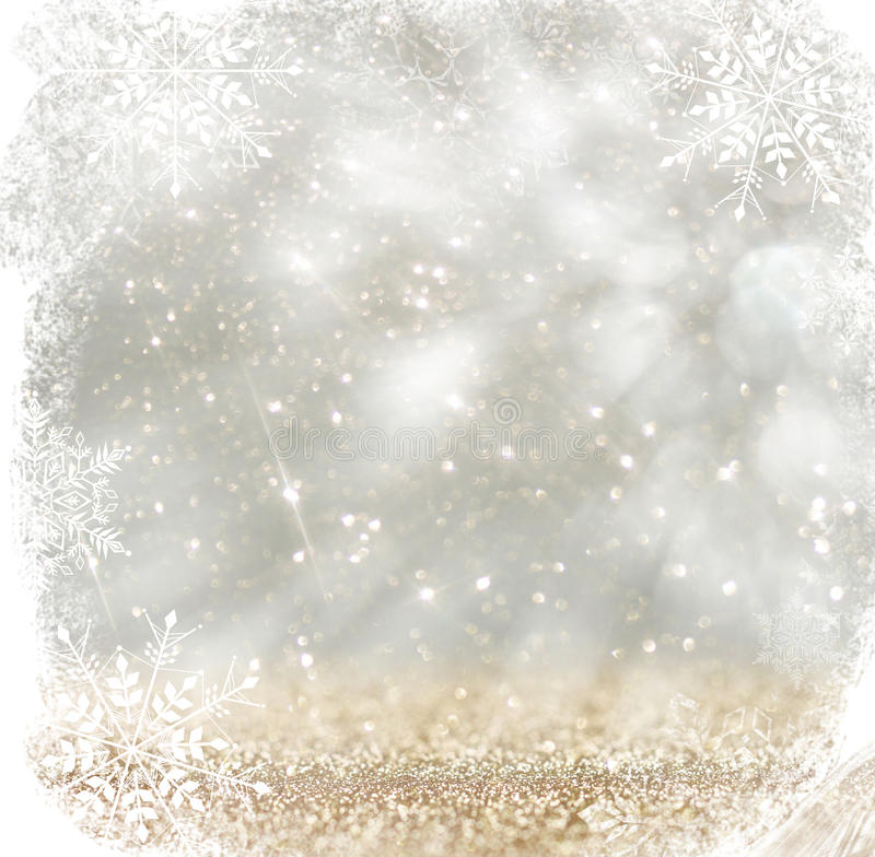 silver white texture silver and white bokeh defocused lights with snowflake overlay