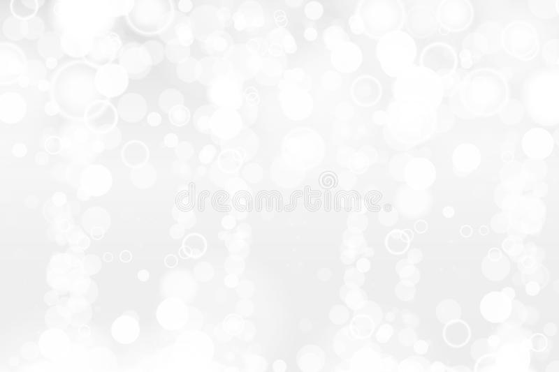 Silver and white bokeh lights defocused. Abstract background. Elegant, shiny, blurred light background. Magic christmas stock illustration