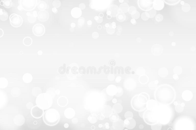 Silver and white bokeh lights defocused. Abstract background. Elegant, shiny, blurred light background. Magic christmas royalty free illustration