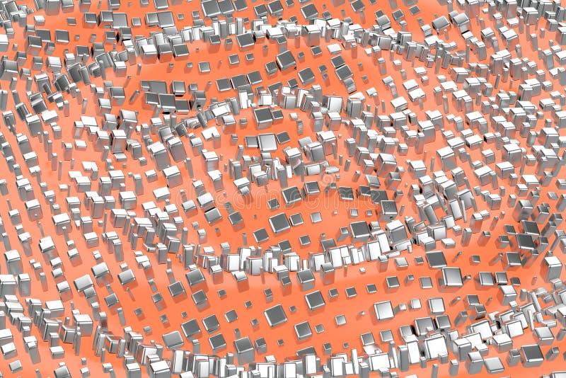 Silver or white gold platinum blocks cubes over light pink orange wave background. Modeling 3d illustration. wealth rich royalty free stock images