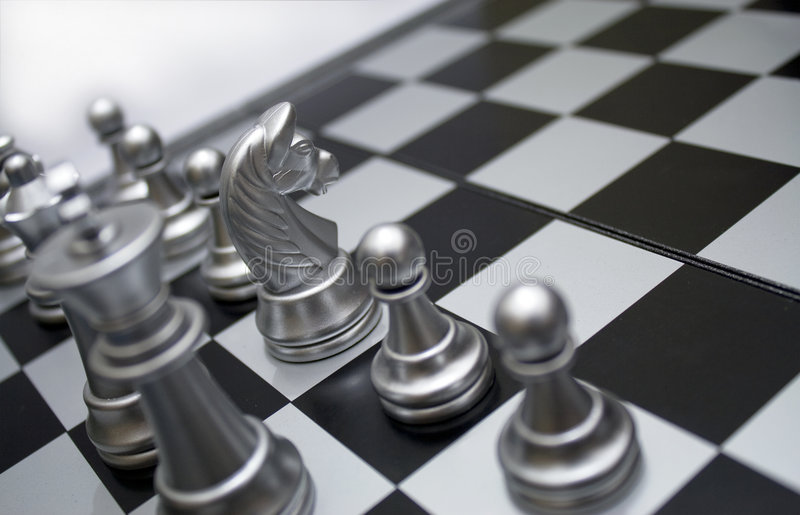 Silver white horse chess royalty free stock photos
