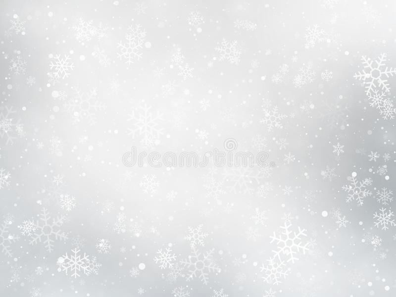 Silver winter Christmas background with snowflakes stock illustration