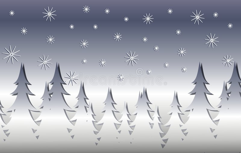 Silver Winter Xmas Tree Scene stock illustration