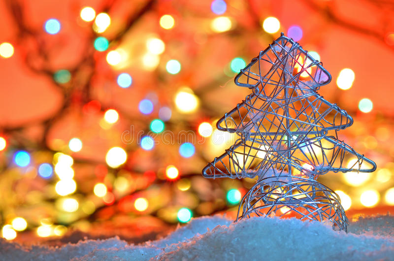 Silver wired christmas tree stock photos