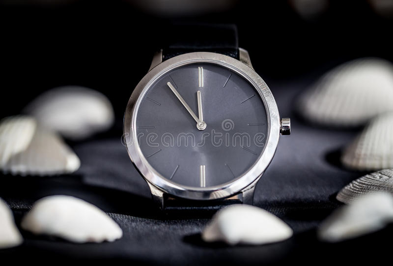 Silver woman watch stock image