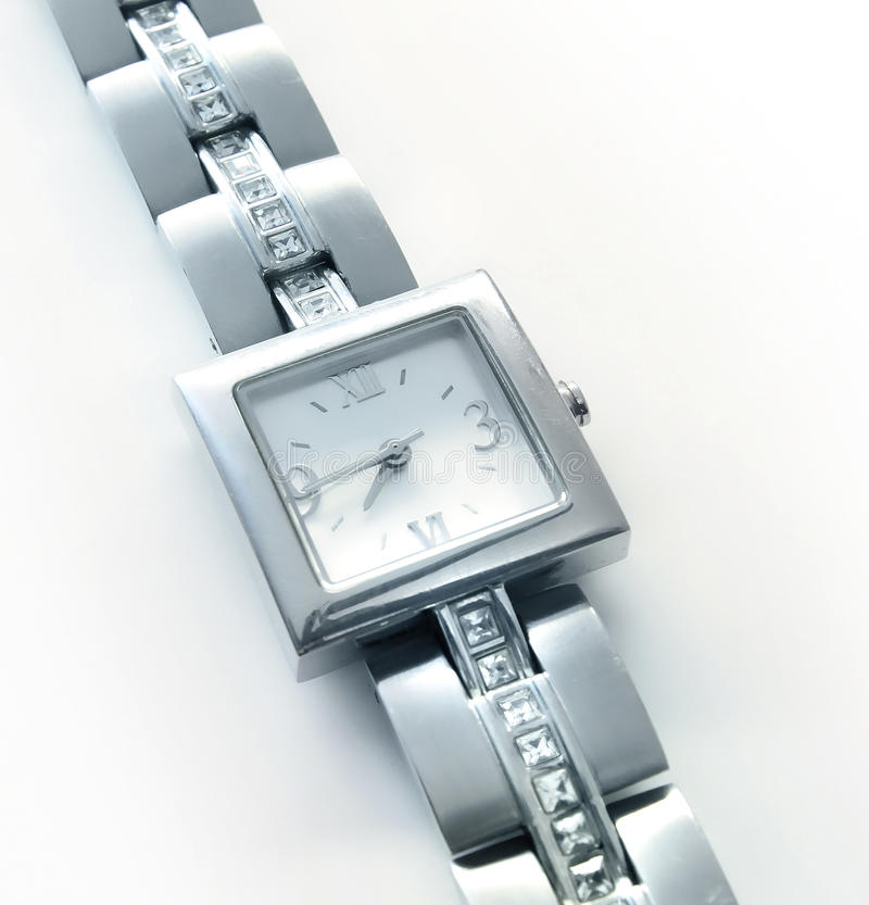 Silver wrist watch royalty free stock photography