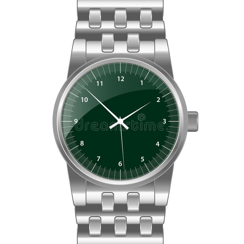 Download Silver wrist watch stock vector. Image of display, case - 20487675