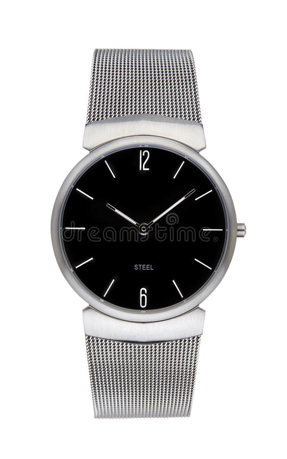 Silver wrist watch isolated with clipping path. Silver wrist watch isolated on white with clipping path stock photo