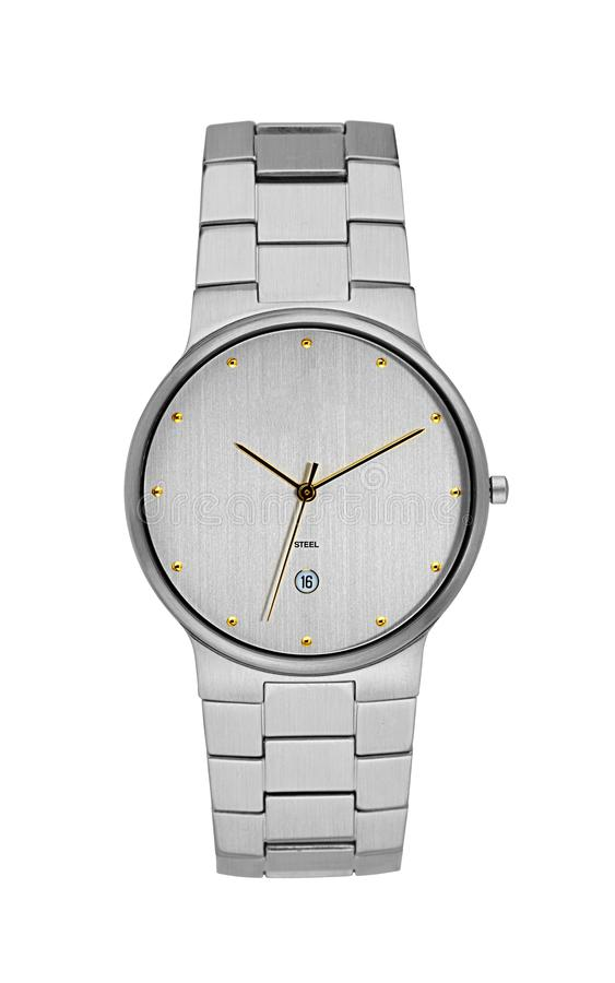 Silver wrist watch isolated with clipping path stock images