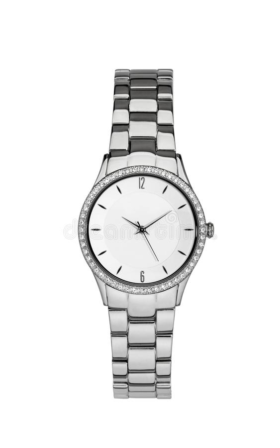 Silver wrist watch isolated with clipping path. Silver wrist watch isolated on white with clipping path royalty free stock images