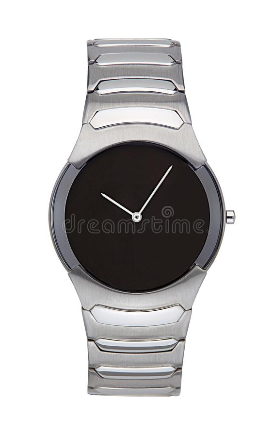Silver wrist watch isolated with clipping path. Silver wrist watch isolated on white with clipping path stock photography
