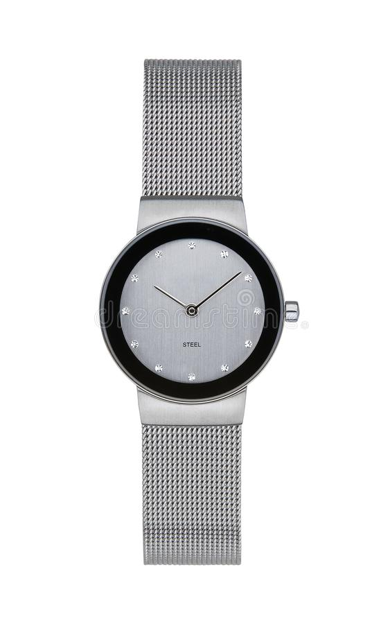 Silver wrist watch isolated with clipping path. Silver wrist watch isolated on white with clipping path stock photos