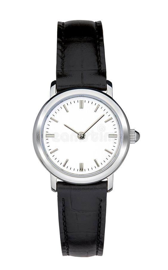 Silver wrist watch isolated with clipping path. Silver wrist watch isolated on white with clipping path royalty free stock image