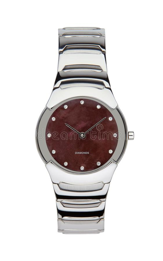 Silver wrist watch isolated with clipping path. Silver wrist watch isolated on white with clipping path stock images