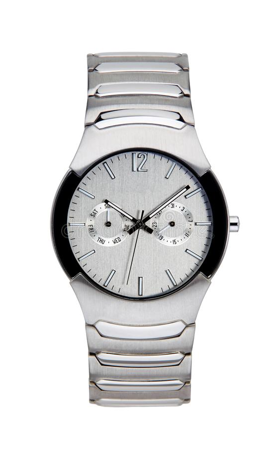 Silver wrist watch isolated with clipping path. Silver wrist watch isolated on white with clipping path royalty free stock photo