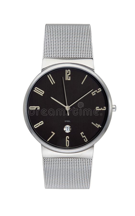 Silver wrist watch isolated with clipping path royalty free stock photos