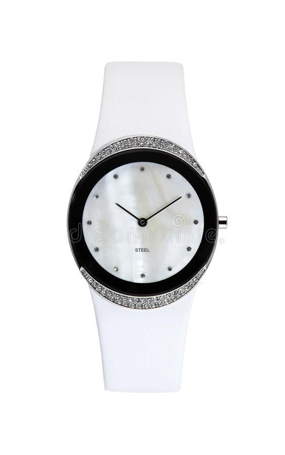 Silver wrist watch isolated round royalty free stock photos