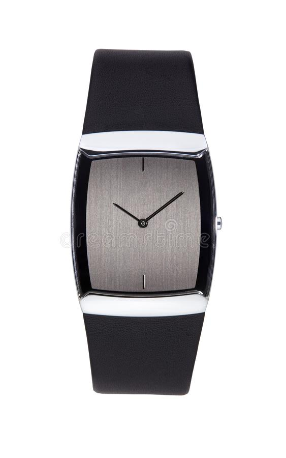 Silver wrist watch isolated square stock photos