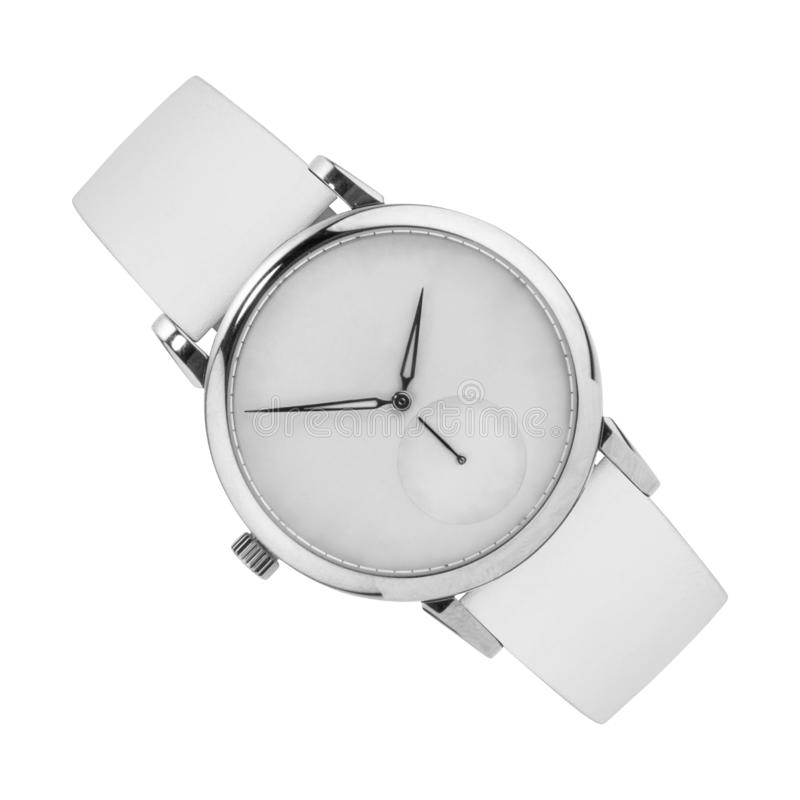 Silver wrist watch isolated on white stock photos