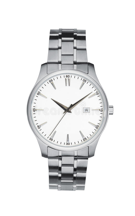 Silver wrist watch isolated white with clipping path. Silver wrist watch isolated on white with clipping path royalty free stock photo