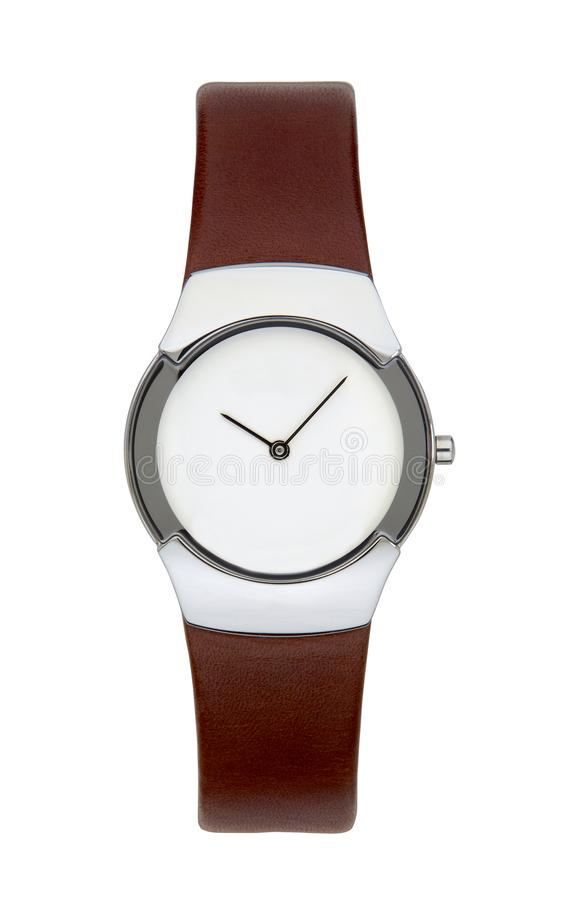 Silver wrist watch isolated with clipping path royalty free stock images