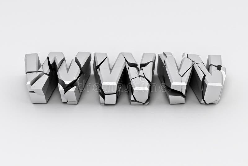 silver www för broken tecken royaltyfri illustrationer