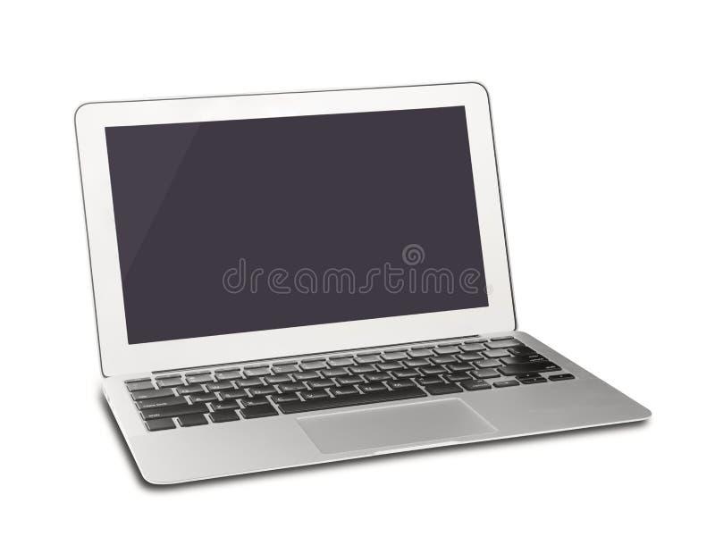 Silverbärbar dator med den tomma skärmen royaltyfri foto
