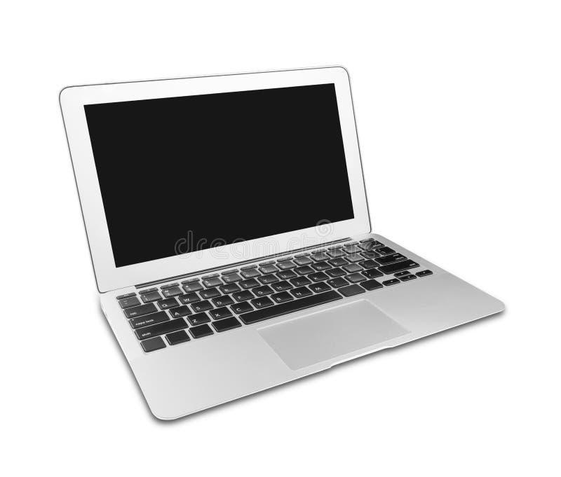 Silverbärbar dator med mellanrumet royaltyfria foton