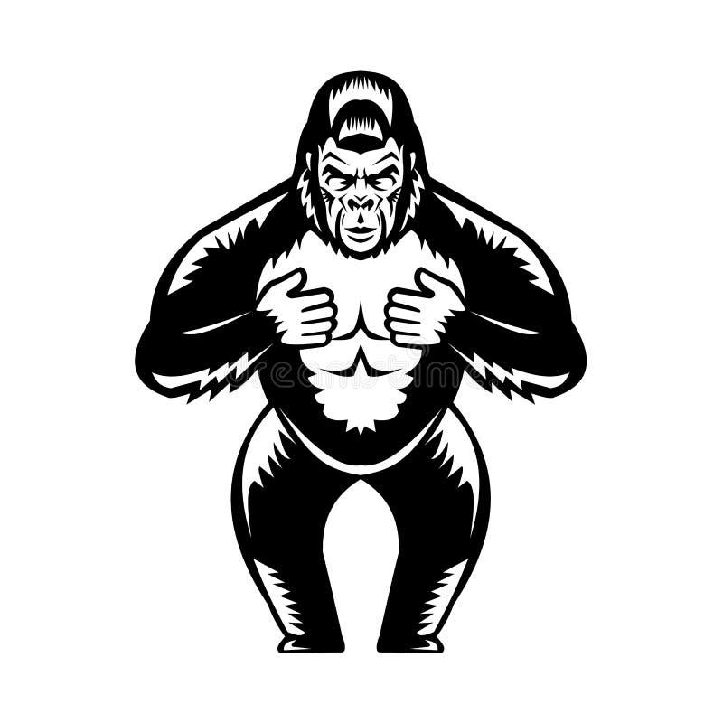 Free Silverback Gorilla Beating Chest Woodcut Royalty Free Stock Photo - 147567195