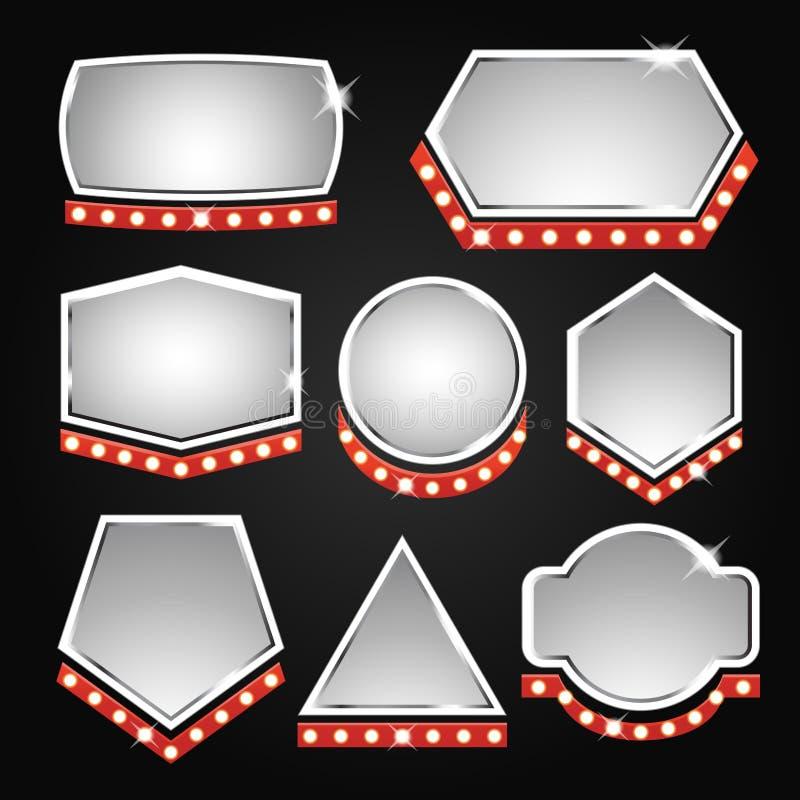 Silverbanerram med ljus vektor illustrationer