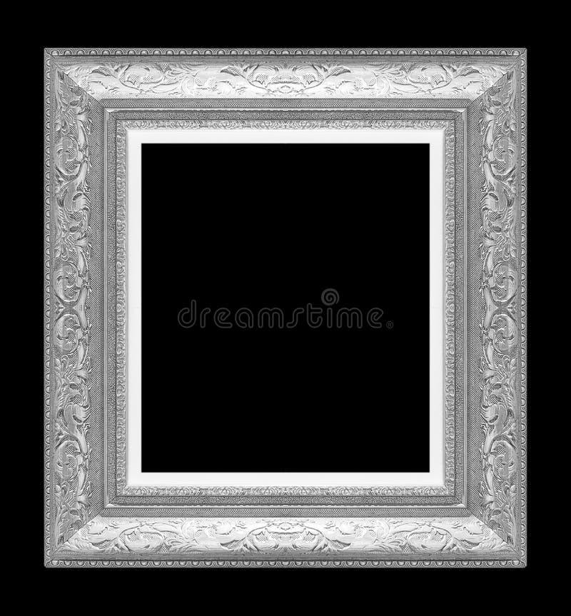 Silverbildram på svart royaltyfri fotografi