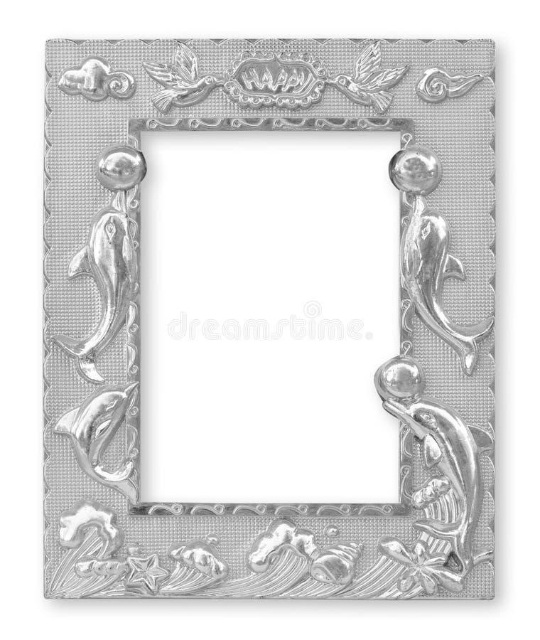Silverbildramar bakgrund isolerad white royaltyfria foton