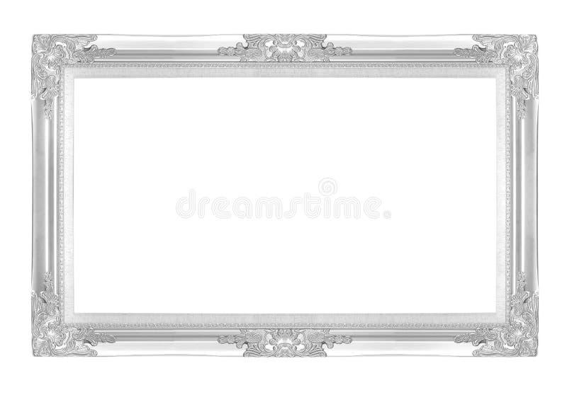 Silverbildramar bakgrund isolerad white royaltyfri foto