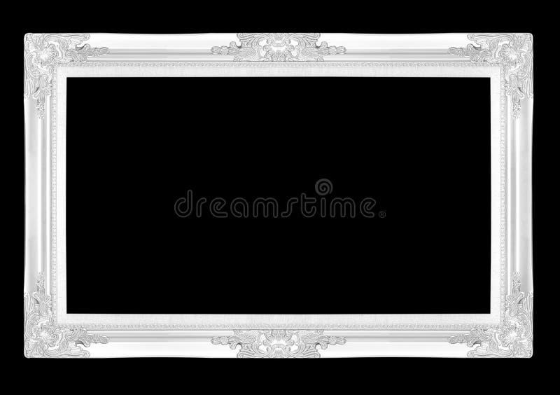 Silverbildramar Isolerat på svart bakgrund arkivbild