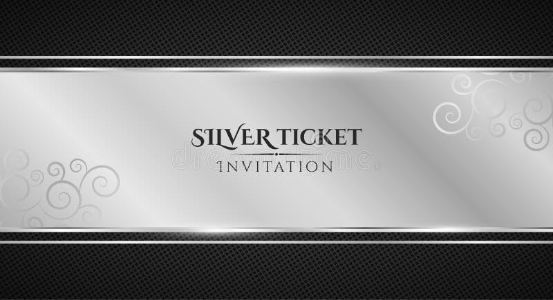 Silverbiljett Lyxig inbjudan Försilvra bandbanret på en svart bakgrund med en modell av ingreppet Realistisk silverremsaintellige royaltyfri illustrationer