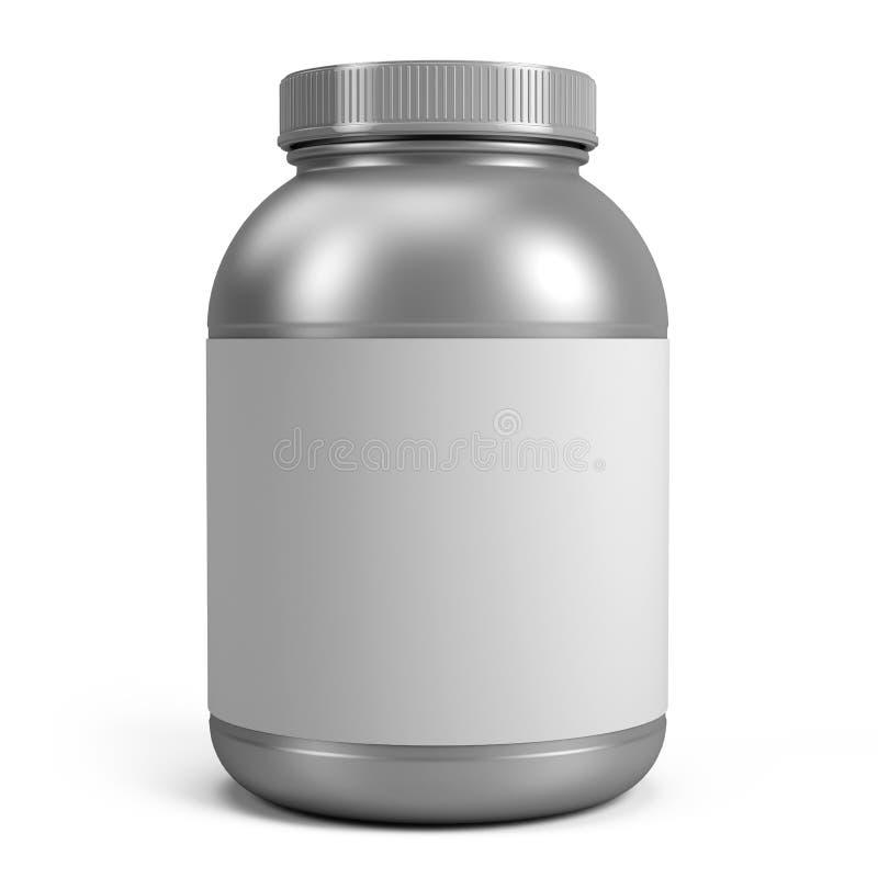 Silvercan av protein- eller gainerpulver med den tomma etiketten royaltyfri illustrationer