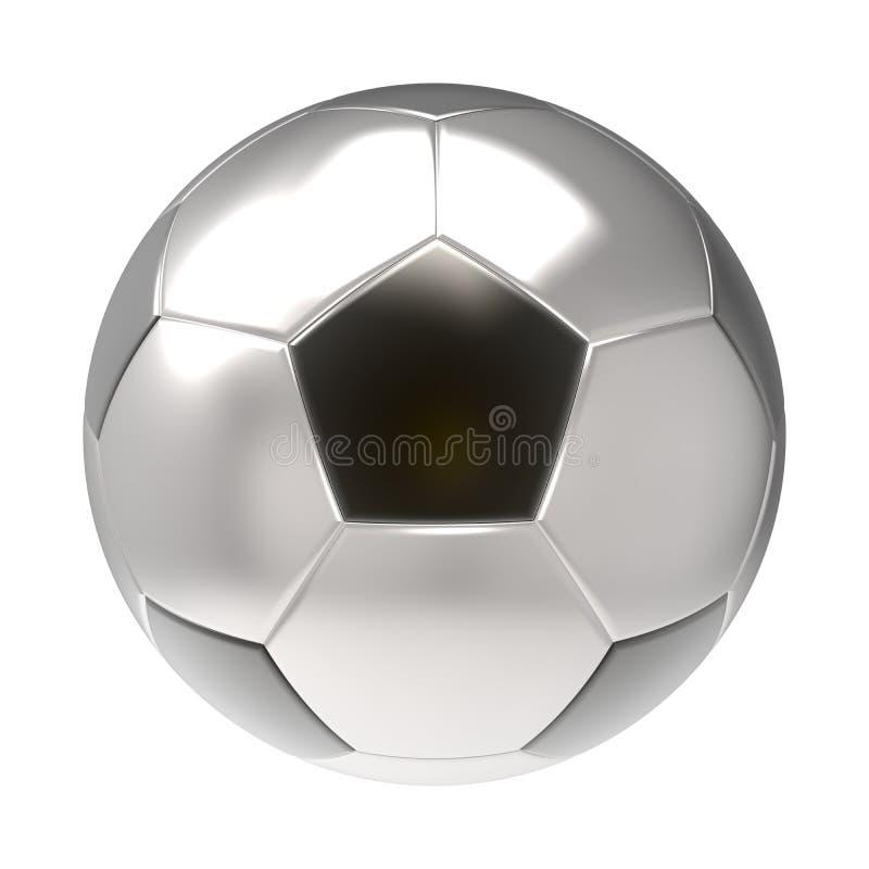 Silverfotbollbollen 3D framför royaltyfri fotografi
