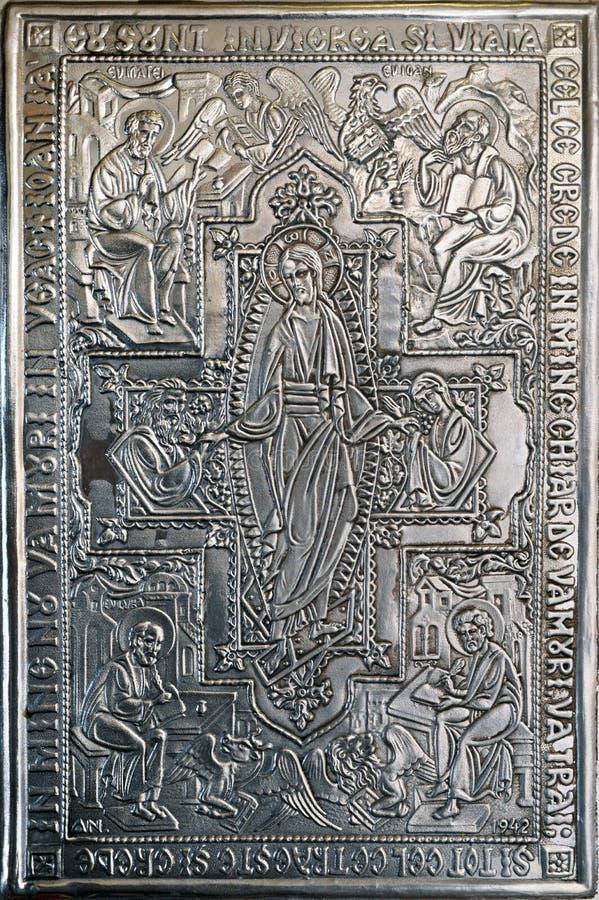 silverklosterbroderbokomslag royaltyfri foto
