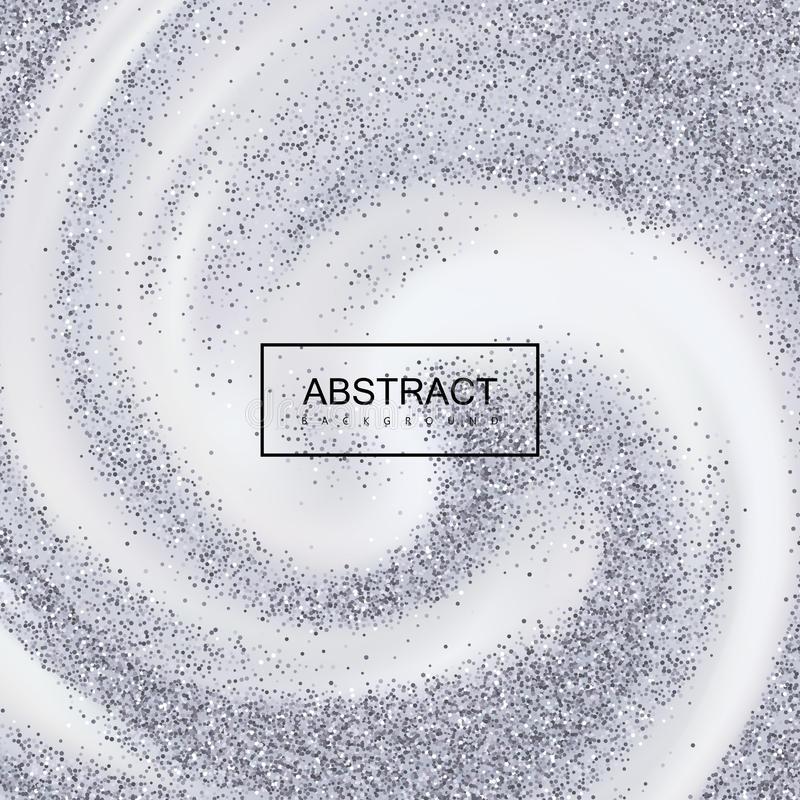 Silverkonfetti blänker på krämig virvlande runt bakgrund stock illustrationer