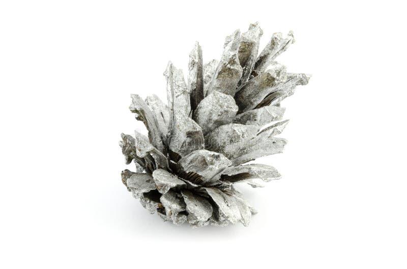Silverkotte som isoleras på garnering för vit jul royaltyfria bilder