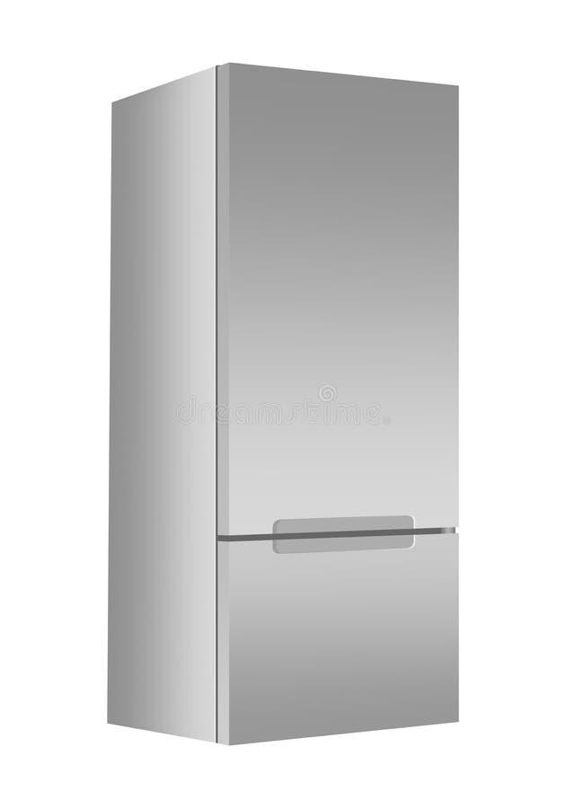 Silverkylskåp med frysen på vit bakgrund Modern kyl 3d med dörren Elektrisk anordning för hem- kök stock illustrationer