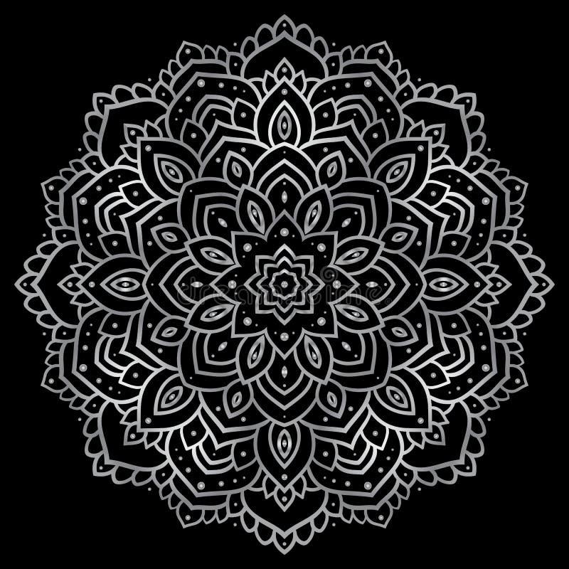 Silvermandala royaltyfri illustrationer