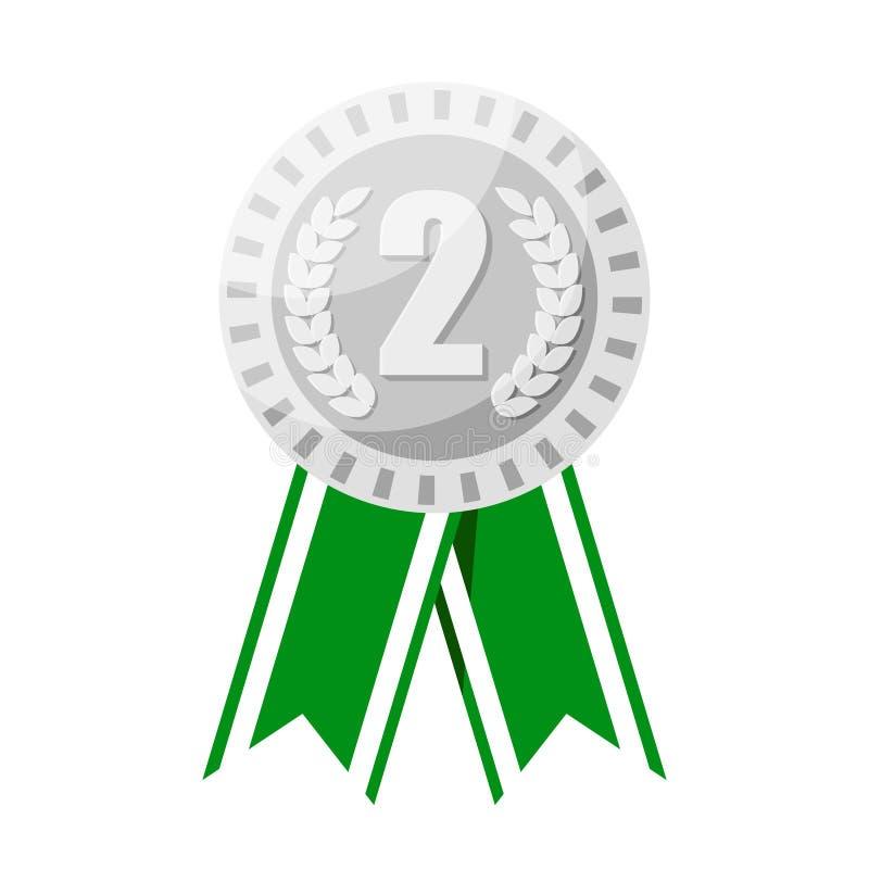 Silvermedalj för bända vektorillustration för andra ställe stock illustrationer
