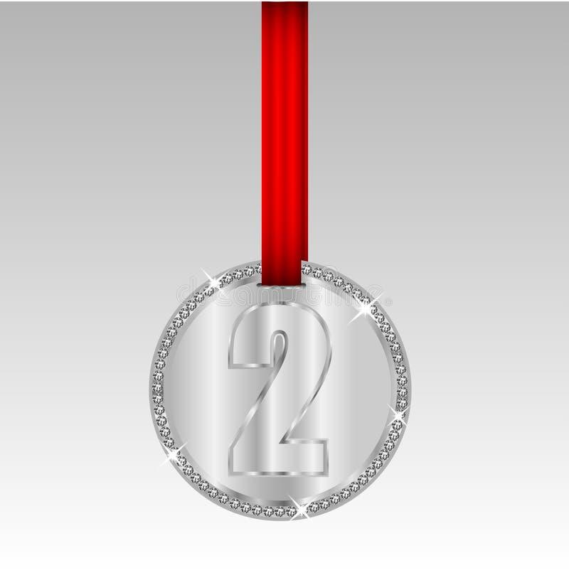 Silvermedalj med nummer två stock illustrationer