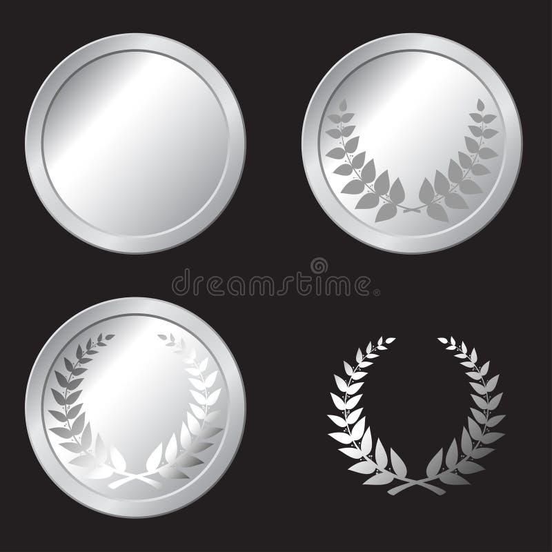 Silvermedaljer royaltyfri illustrationer