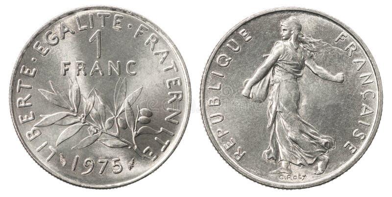 Silvermynt för fransk franc royaltyfria bilder