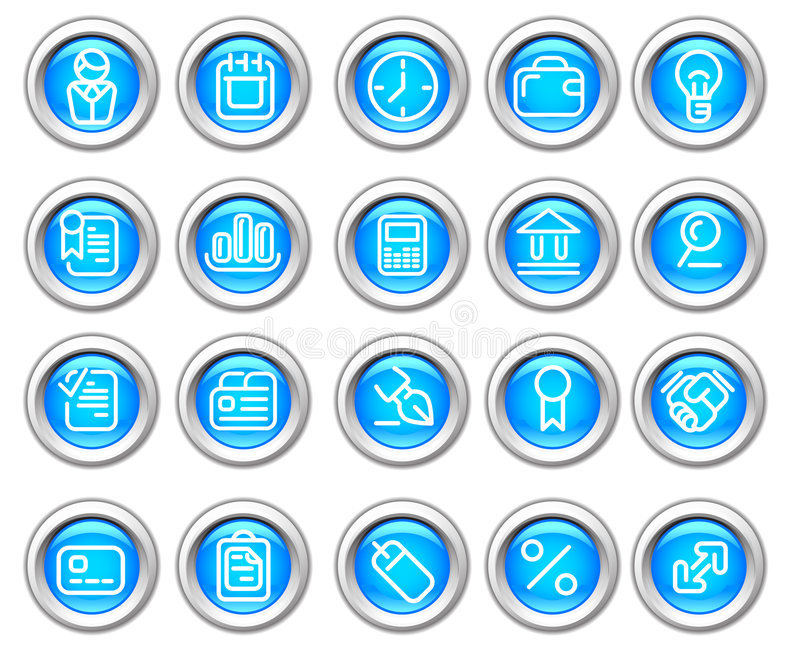 Silvero Glossy Icon Set: Business And Finance Royalty Free Stock Images